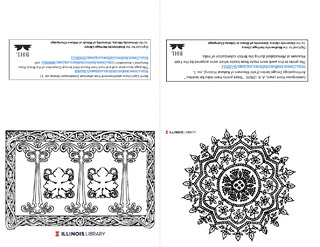 Design from printers' decorative elements and Indian wood block print centerpiece notecards