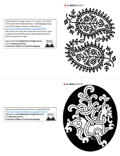 colorable notecards featuring an indian block print and a stylized animal crest